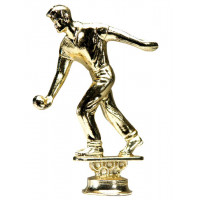 Mens Trophy Top by World Bocce League mounts on standard trophy bases